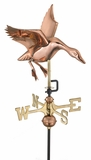 Landing Duck Garden Weathervane - Polished Copper w/Roof Mount by Good Directions