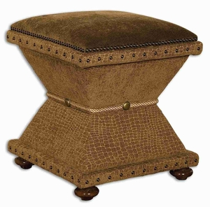 Lanessa Upholster Ottoman With Velvet Cushioned Top Brand Uttermost