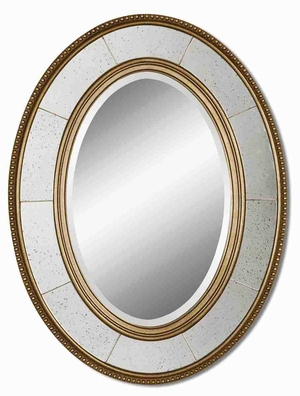 Lara Wall Mirror with Champagne Gray Glaze Wood Frame Brand Uttermost