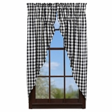 Large Black Check Prairie Curtain Set of 2-36x63 - 21092 by VHC Brands