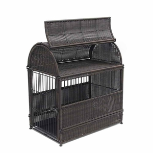 Large Espresso Wicker Dog House with Round Top and Steel Frame Brand Zest
