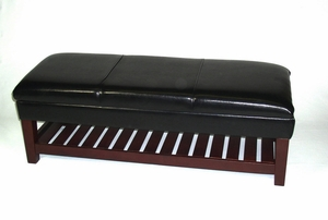 Large Faux Leather Bench with Lift able Top by 4D Concepts