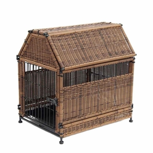 Large Honey Wicker Dog House with Roof Top and Steel Frame Brand Zest