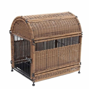 Large Honey Wicker Dog House with Round Top and Steel Frame Brand Zest