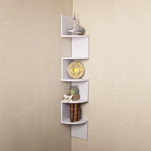 ... Corner Racks and Shelves Danya B Large White Laminate Corner Wall