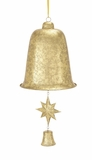 "Large Metal Xmas Bell w/ Gold Leaf Design, Small Star & Small Bell Clapper 13""W, 30""H by Woodland Import"