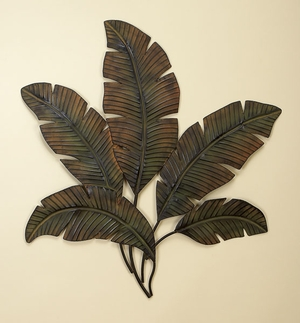 Large Palm Leaf Metal Wall Decor Sculpture, Leaf Metal Wall Decor Brand Woodland