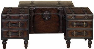 Large Vienna Leather Chest Trunks Crafted in wood  - Set of 3 Brand Woodland