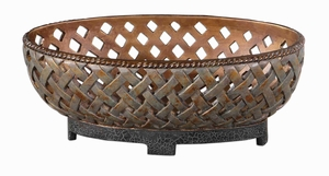 Lattice Weave Style Bowl With Copper Bronze Finish Brand Uttermost
