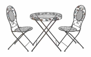 Laurel Bistro Set - Iron Bistro Table For Patio With Laurel Decoration - 3 Piece Brand Woodland