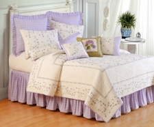 Lavender Trellis Cotton Quilt Luxury Os Queen  Bedding Ensembles Brand C&F