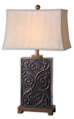 Lavinta Dark Bronze Table Lamp with Detailing in Gold Brand Uttermost
