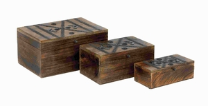 Lavishing Wood Metal Box with Intricately Detailed Metal Stripes Brand Woodland
