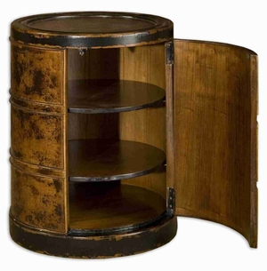 Lawton Storage Accent Drum Table With Cinnamon Rubbed Mango Wood Brand Uttermost