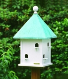 Lazy Hill Farm Designs Square Bird House with Blue Verde Copper Roof by Lazy Hill Farm Designs
