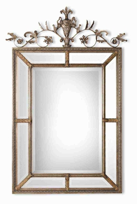 Le Vau Vertical Wall Mirror with Beveled Mirrors For Inner and Outer Frames Brand Uttermost