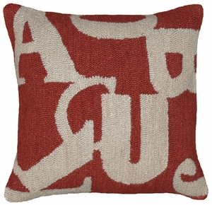 "Learning Letters Red Gray Hooked Pillow 16x16"" by 123 Creations"