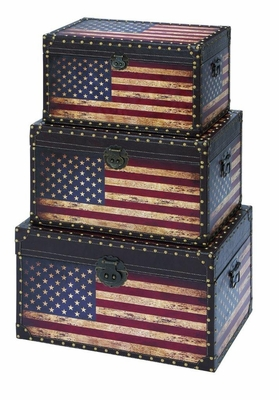 Leather and Wooden Trunk with American Flag Design - Set of 3 Brand Woodland