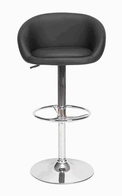 Leather Bar Stool in Dark Hue Black with Chrome Leather Covering Brand Woodland