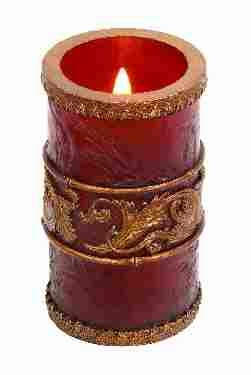 Led Candle Blow On-off Decor in Red Color with Unique Design Brand Woodland