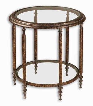 Leilani Accent Table With Antique Gold Finish and Gray Glaze Brand Uttermost