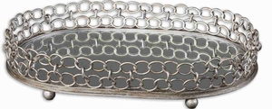 Leiven Style Mirrored Tray With Silver Champagne Details Brand Uttermost