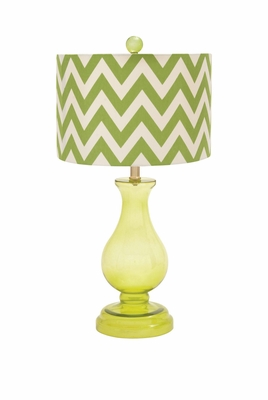 Lemon Yellow Polished Enthralling Styled Glass Table Lamp by Woodland Import