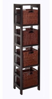 Winsome Wood Leo 5pc Storage Shelf with Basket Set - Shelf with 4 small baskets