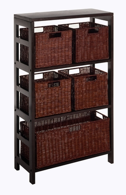 Winsome Wood Leo 6pc Shelf in Elegant Espresso Finish with 4 Small and 1 Large Baskets