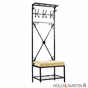 Leon Metallic Entryway Storage Rack with White Cushioned Seat by Southern Enterprises
