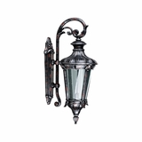 Leonardo Collection Stunning 1 Light Exterior Light Wall Mount in Silver with Red by Yosemite Home Decor