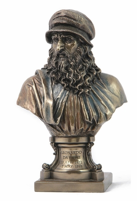 Leonardo Da Vinci Bust with Pedestal in Cold Cast Bronze Brand Unicorn Studio