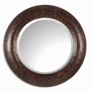 Leonzio Leather Wall Mirror with Hand Finished Brown Leather Brand Uttermost