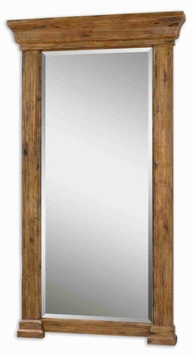 Letcher Antique Wall Mirror with Hickory Finished Frame Brand Uttermost