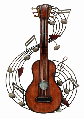 Lets Rock Guitar Metal Wall Art Decor Sculpture, Musical Wall Art Brand Woodland