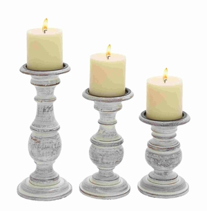 Short And Sweet Wooden Candle Holder Set Of Three In White Paint Finish - 51535 by Benzara