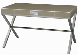 Lexia Style Modern Desk with Verdigris Acanthus Leaf Drawers Brand Uttermost