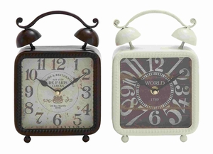 Lexington's Exquisite Metal Desk Clock Pair Brand Benzara