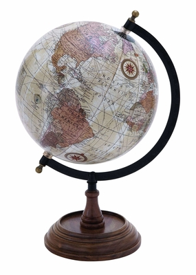 "Libra Wooden and Metal Globe in Brown Finish 14"" Height Brand Woodland"