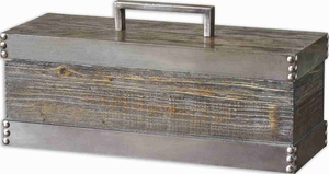 Lican Natural Wood Box With Antiqued Chestnut Stain Brand Uttermost