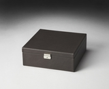 "Lido Black Leather Storage Case 12""W by Butler Specialty"