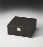 "Lido Black Leather Storage Case 16""W by Butler Specialty"