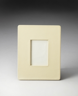 "Lido Cream Leather Picture Frame 11""W by Butler Specialty"