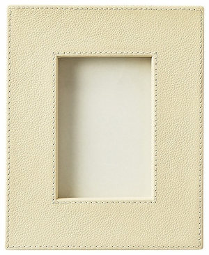 """Lido Cream Leather Picture Frame 6.5""""W by Butler Specialty"""