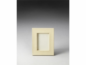"""Lido Cream Leather Picture Frame 8.25""""W by Butler Specialty"""