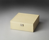 "Lido Cream Leather Storage Case 12""W by Butler Specialty"