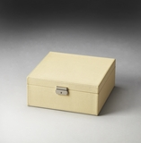 "Lido Cream Leather Storage Case 16""W by Butler Specialty"