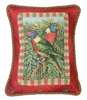 """Lifelike Parrot in Red Petit Point Pillow 18x14"""" by 123 Creations"""