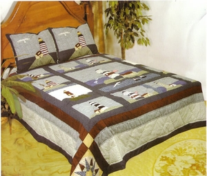 Light House Quilt Queen Size 90 Inch X 90 Inch Nautical Cotton Quilts by American Hometex