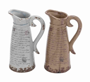 Easy to Use and Lightweight Ceramic Pitcher with Antique Design - 78660 by Benzara